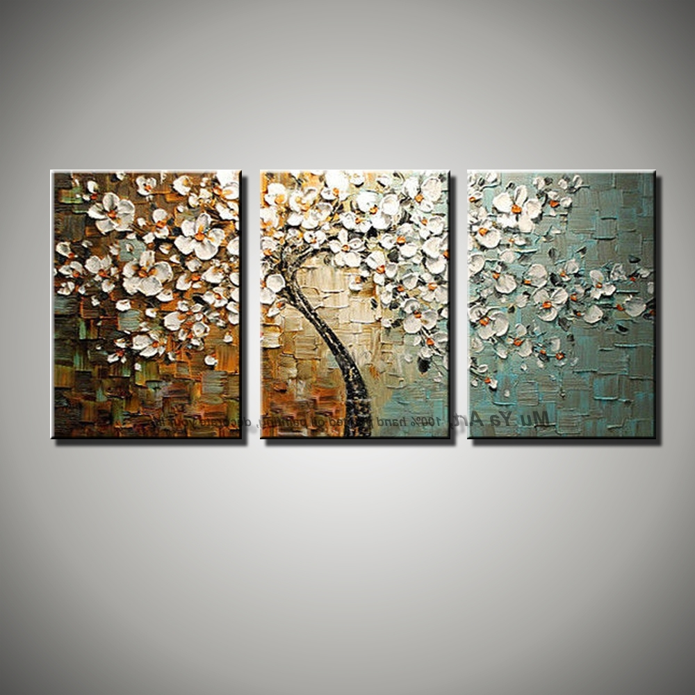 2018 Three Panel Wall Art For 3 Panel Wall Art Canvas Tree Acrylic Decorative Pictures Hand (View 1 of 15)