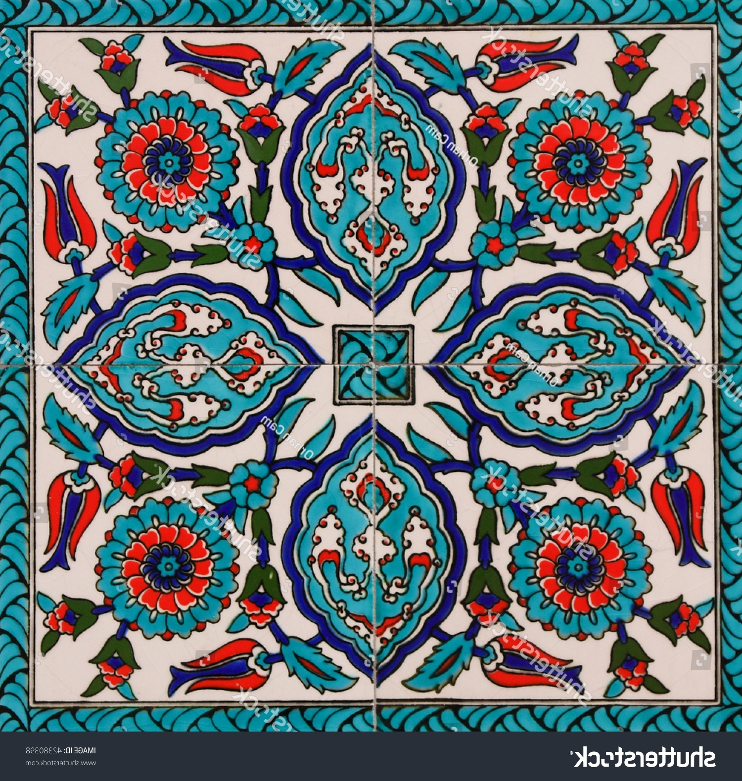 2018 Turkish Wall Art Throughout Turkish Artistic Wall Tile Stock Photo 42380398 – Shutterstock (View 3 of 15)