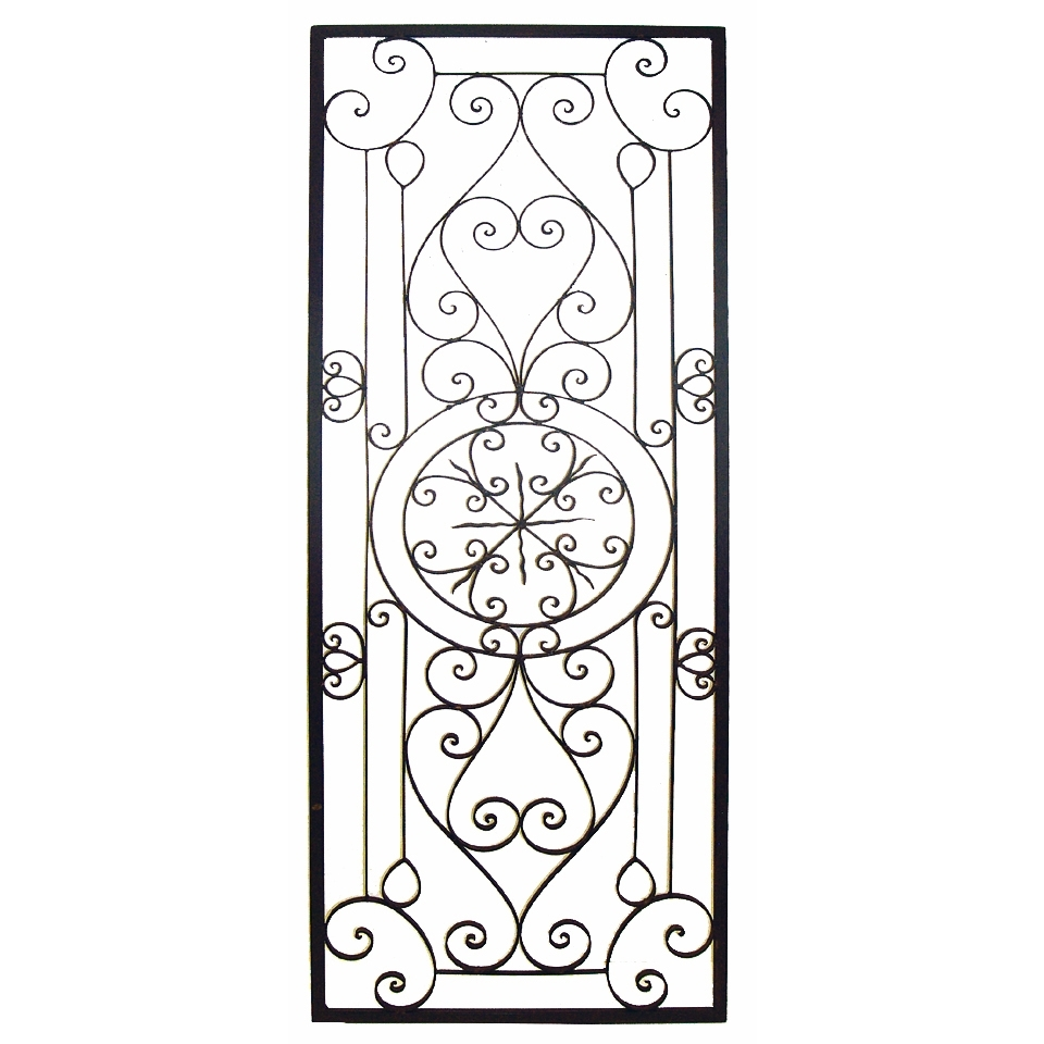 2018 Tuscan Wrought Iron Wall Art Pertaining To This Tuscan 64'' Large Rectangular Wrought Iron Wall Grille Plaque (View 1 of 15)