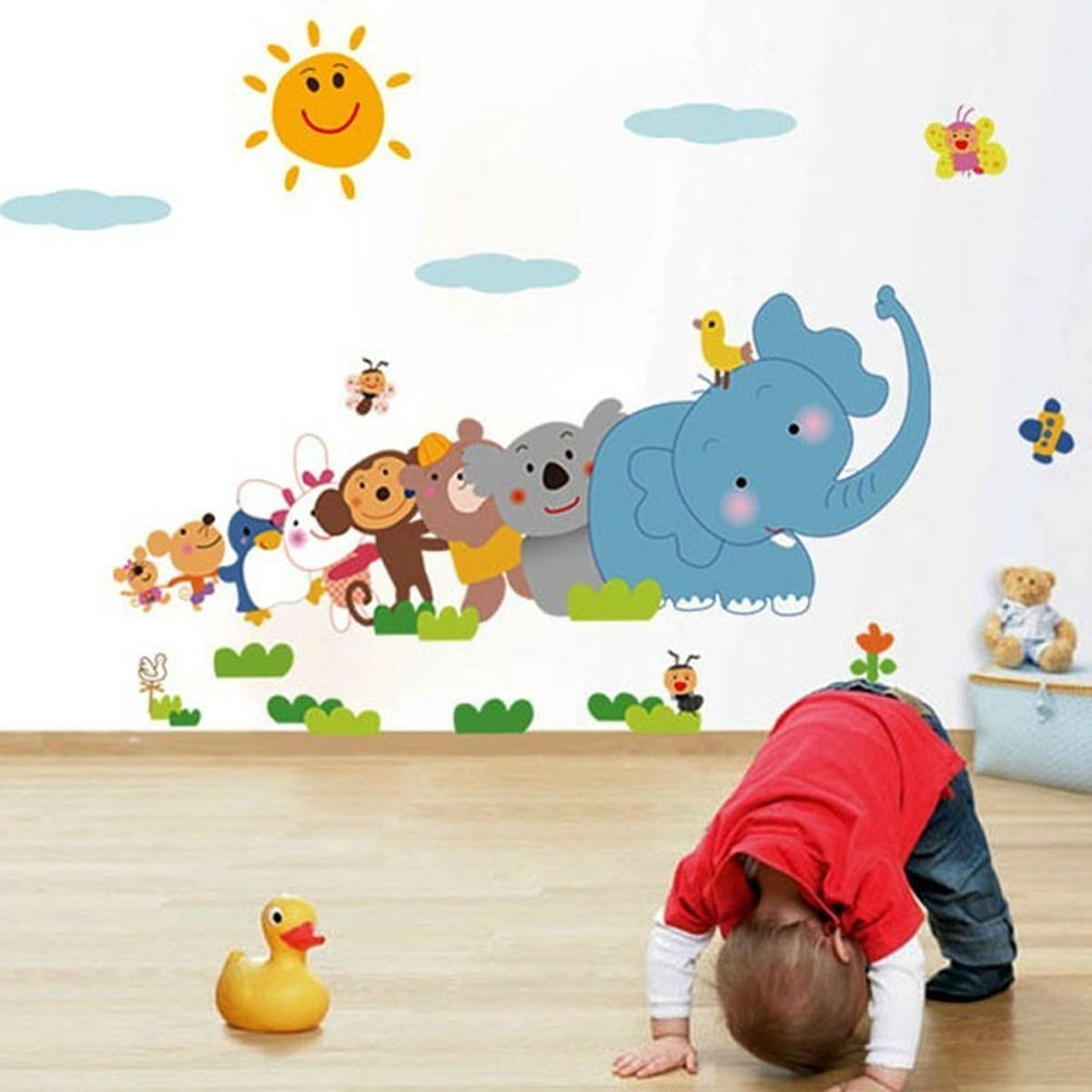 2018 Wall Art For Kindergarten Classroom In Baby Room Cartoon Wall Sticker Kindergarten Classrooms Children (View 1 of 15)