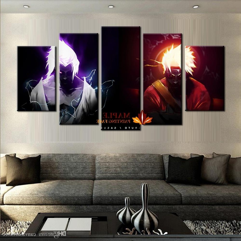 2018 Wholesale 5 Panels Canvas Printings Naruto Vs Sasuke Home Regarding Well Liked Cheap Modern Wall Art (View 2 of 15)