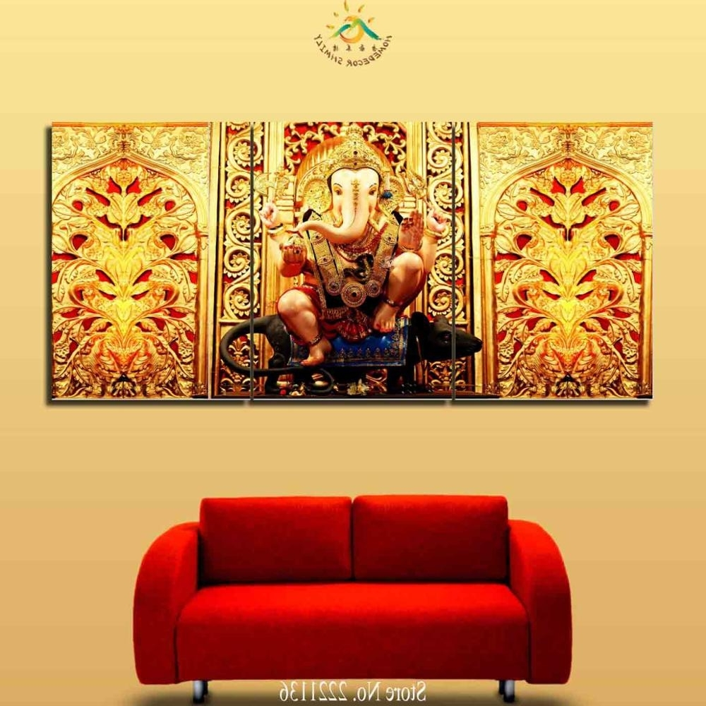 3 4 5 Pieces Ganesh Elephant Buddha Golden Wall Art Pictures Regarding Famous Ganesh Wall Art (Gallery 13 of 15)