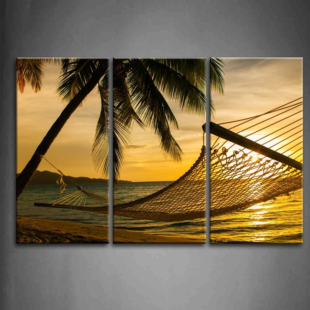 3 Panel Wall Art Hammock Silhouette With Palm Trees On A Beautiful In Best And Newest 3 Piece Beach Wall Art (View 6 of 15)