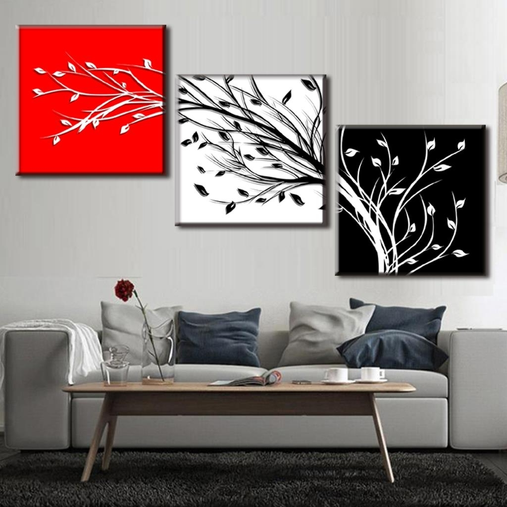 3 Pc Canvas Wall Art Sets Pertaining To Recent Framed Painting 3 Pcs/set Abstract Black White Red 3 Color Tree (Gallery 12 of 15)