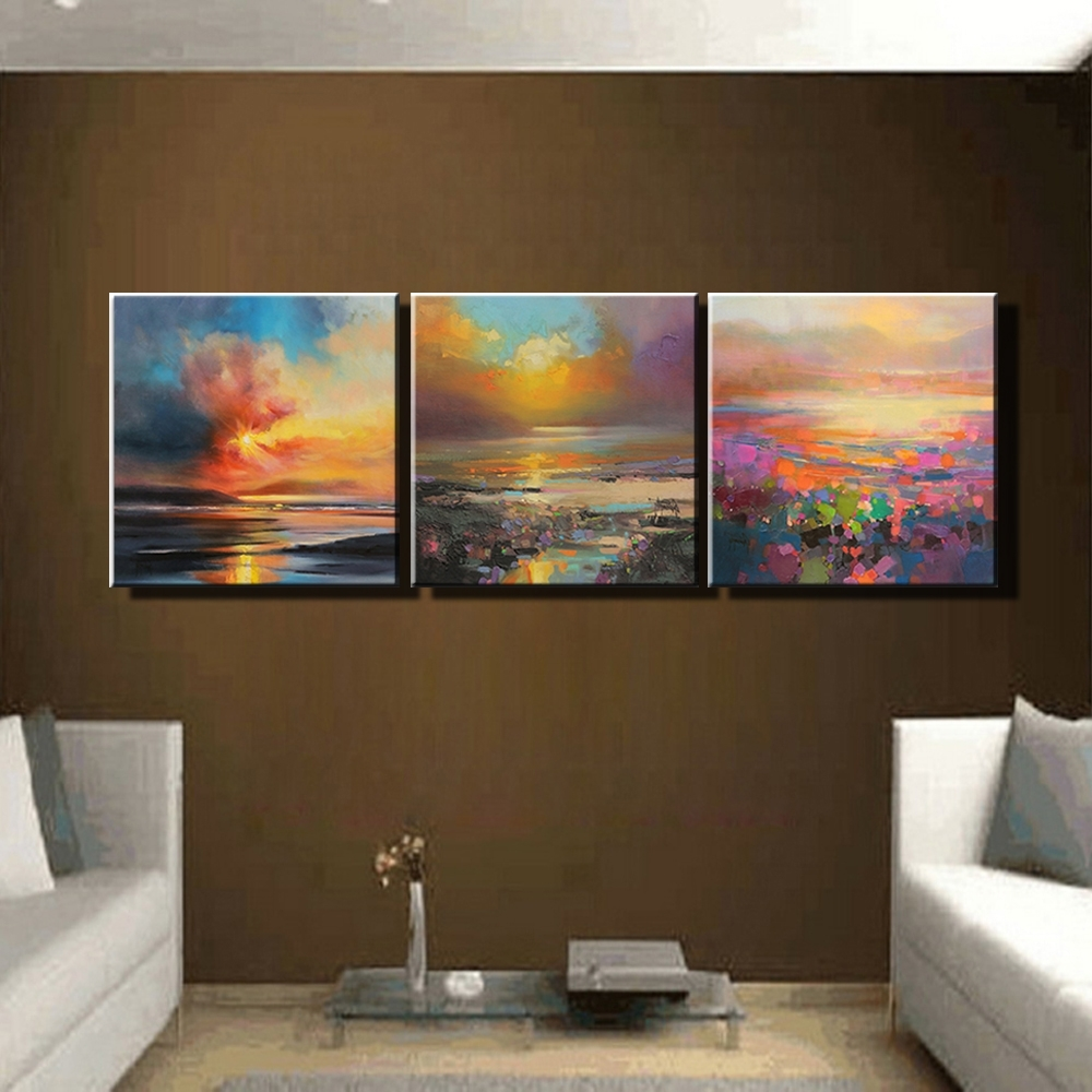 3 Piece Abstract Wall Art Canvas Sunset Beach Prints Modern Wall Within 2017 Abstract Canvas Wall Art Iii (Gallery 12 of 15)