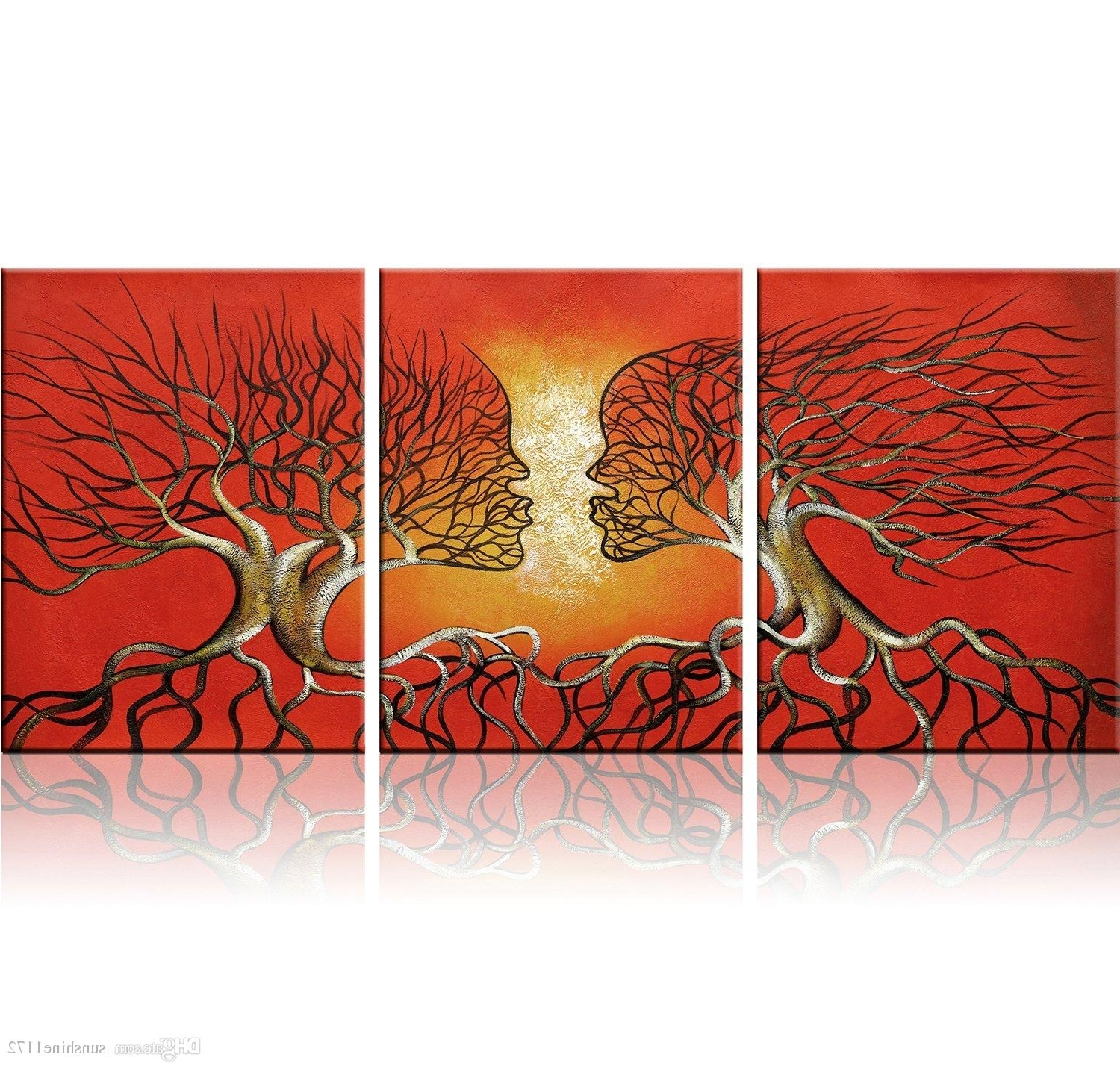 3 Piece Abstract Wall Art Inside Popular Modern Abstract Lovers Tree Wall Art Red Framed Giclee Canvas For (View 6 of 15)