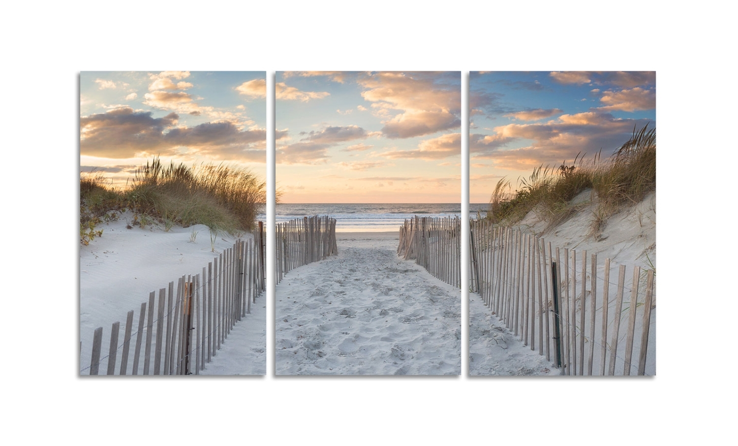 3 Piece Beach Wall Art In Current Large Beach Art 3 Three Panel Triptych Canvas Wall Art Beach Path (View 14 of 15)