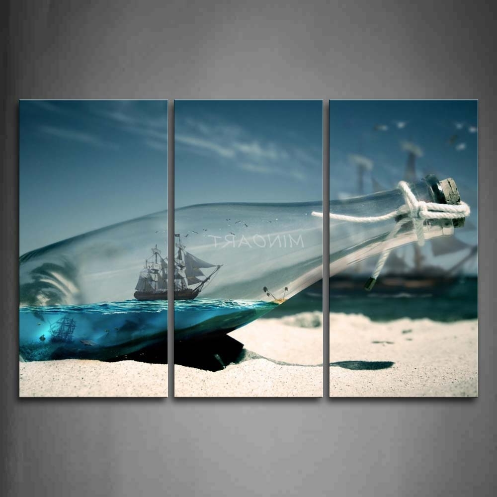 3 Piece Beach Wall Art Intended For 2018 3 Piece Wall Art Painting Boat In Glass Bottle On Beach Print On (View 5 of 15)