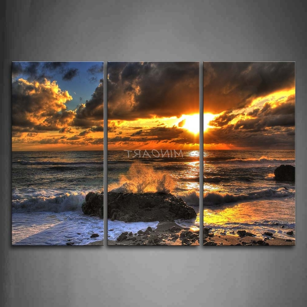 3 Piece Beach Wall Art Pertaining To Fashionable 3 Piece Wall Art Painting Wave Beat Rock At Beach Sunset Print On (View 13 of 15)