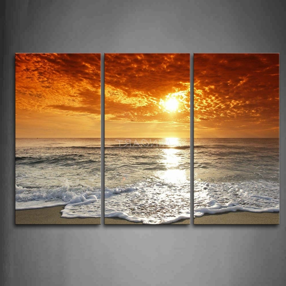 3 Piece Beach Wall Art Pertaining To Well Known 3 Piece Wall Art Painting Sunrise On The Beach Picture Print On (Gallery 7 of 15)