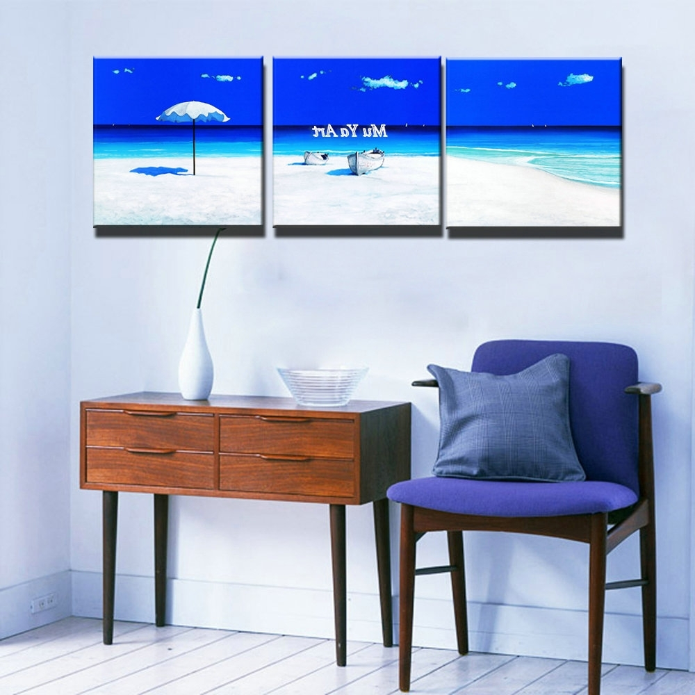 3 Piece Beach Wall Art With Regard To Most Recent 3 Piece Modern Blue Seascape Canvas Prints Abstract Beach Wall Art (Gallery 11 of 15)