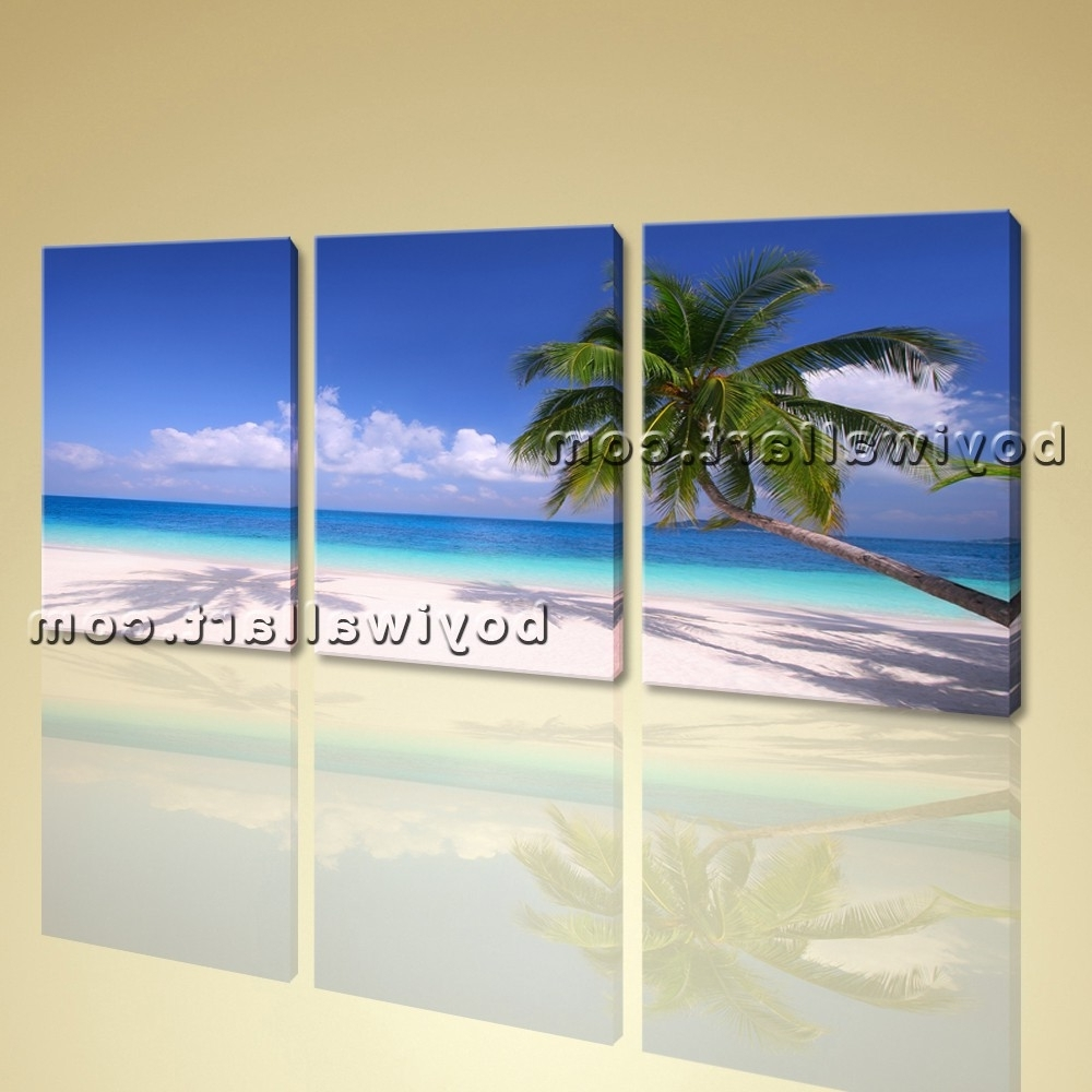 3 Piece Beach Wall Art With Regard To Well Known Hd Canvas Print 3 Piece Framed Beach Landscape Wall Art Palm Tree (View 8 of 15)