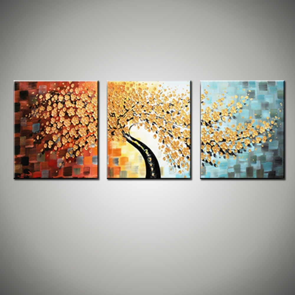 3 Piece Floral Wall Art Pertaining To Most Recent 3 Piece Canvas Wall Art Wall Picture Modern Flower Colorful (View 3 of 15)