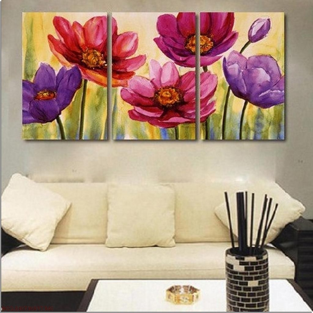 3 Piece Floral Wall Art Throughout Well Liked Set+Of+Three+Paintings (View 4 of 15)