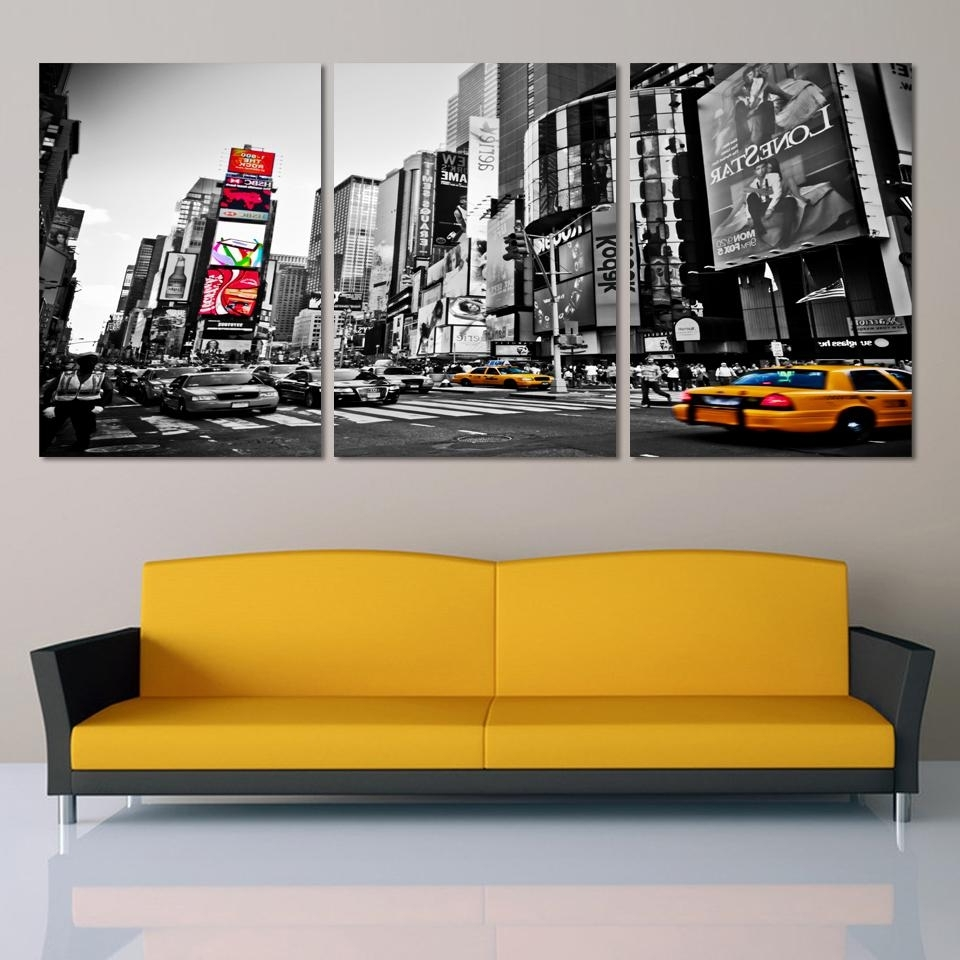 3 Piece Modern Wall Art Regarding 2017 Fashion Home Decor Canvas 3 Piece Wall Art Picture City Night (View 4 of 15)