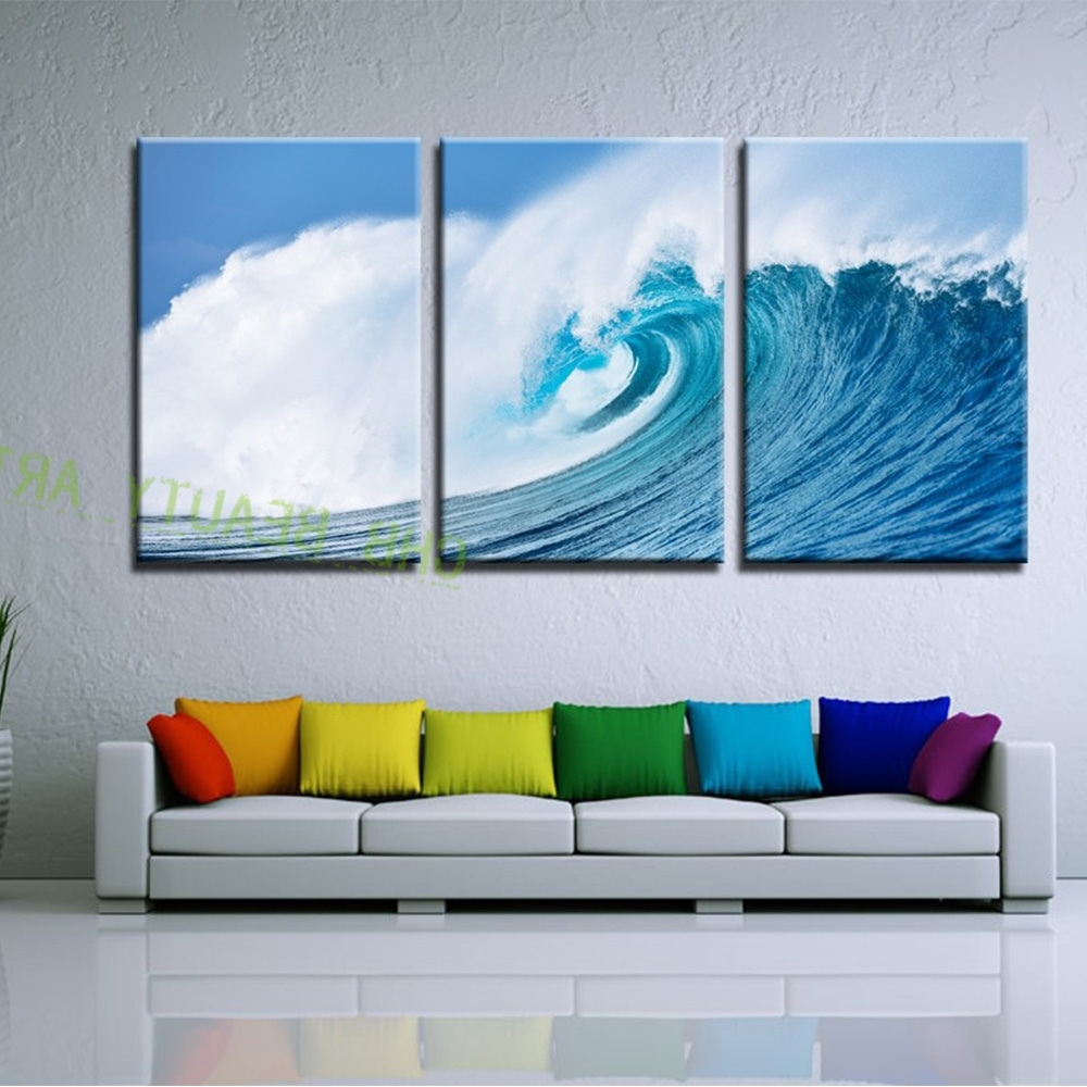 3 Piece Pure Ocean Waves Canvas Art Modern Wall Painting Wall Regarding Recent 3 Piece Modern Wall Art (View 6 of 15)