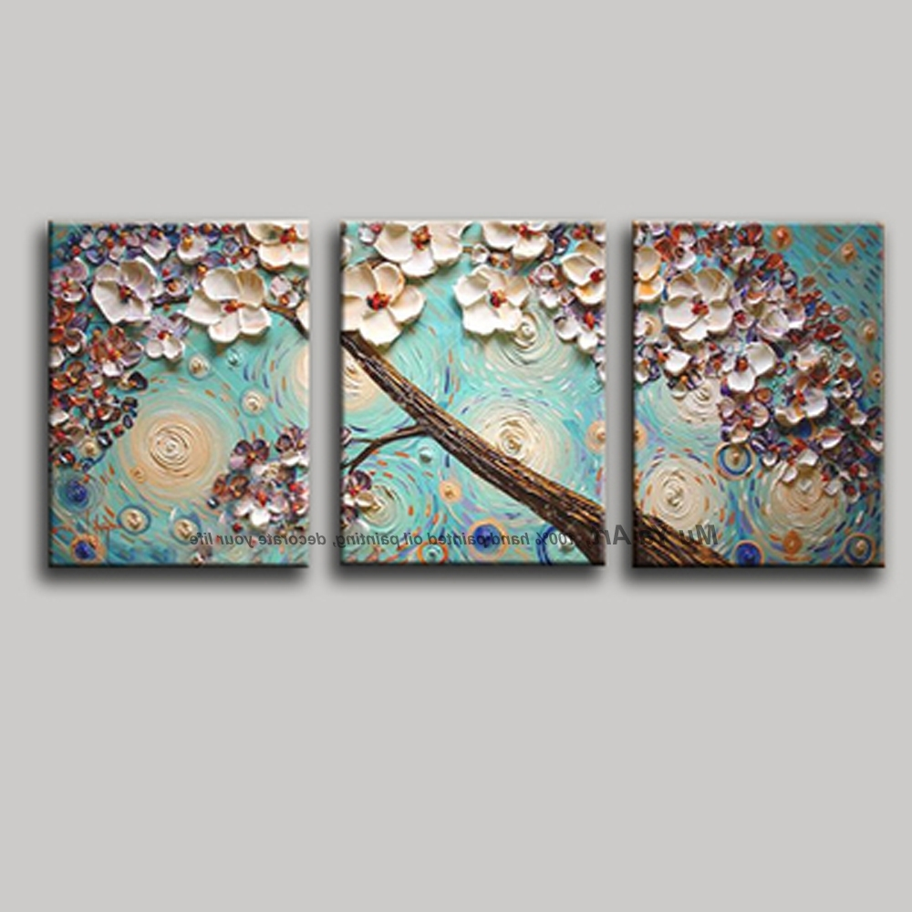 3 Piece Wall Art Flower Pictures Acrylic Decorative Hand Painted Within Recent 3 Piece Floral Wall Art (View 6 of 15)