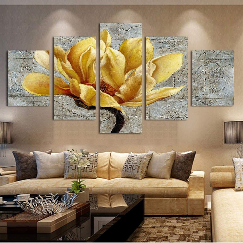 3 Piece Wall Art For 2018 Fashion Free Shipping Pictures Canvas Painting Gold Orchid Flower (View 2 of 15)
