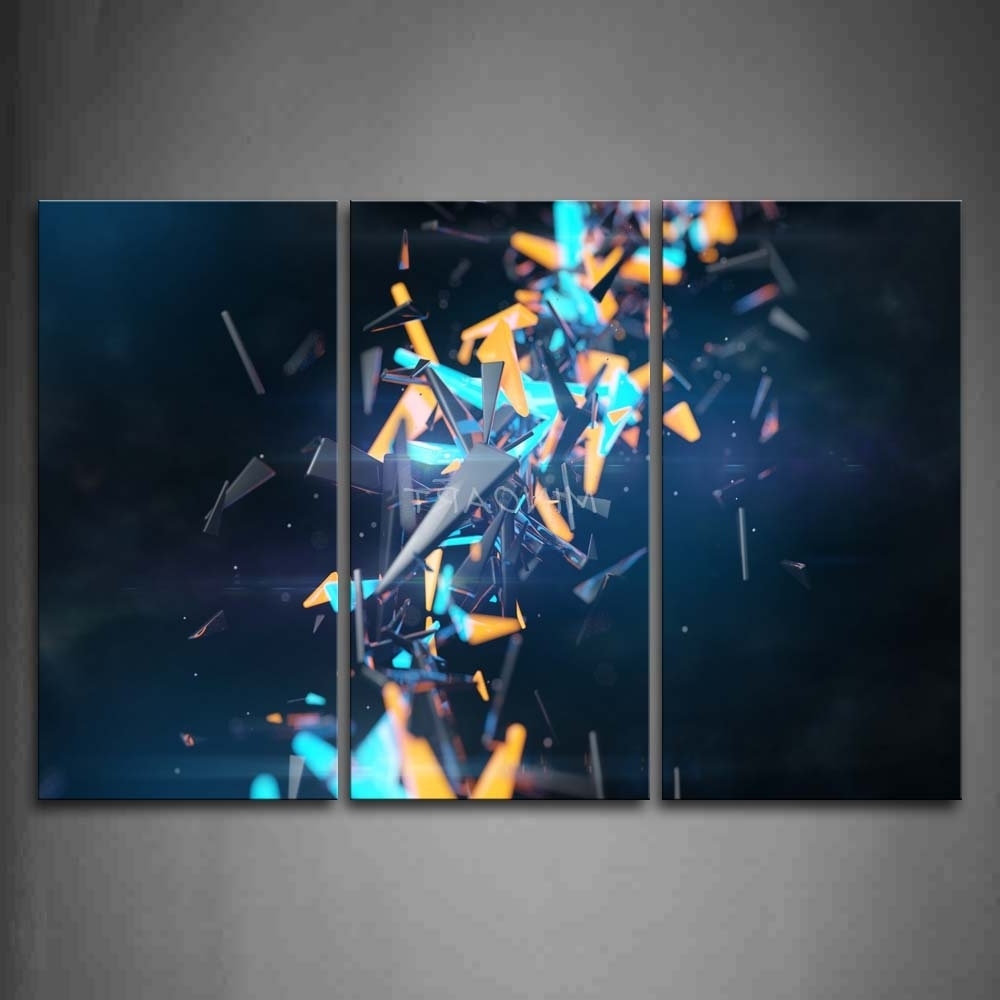 3 Piece Wall Art Painting Cool Abstract Orange And Blue Grey Pertaining To Preferred Orange And Blue Wall Art (View 6 of 15)
