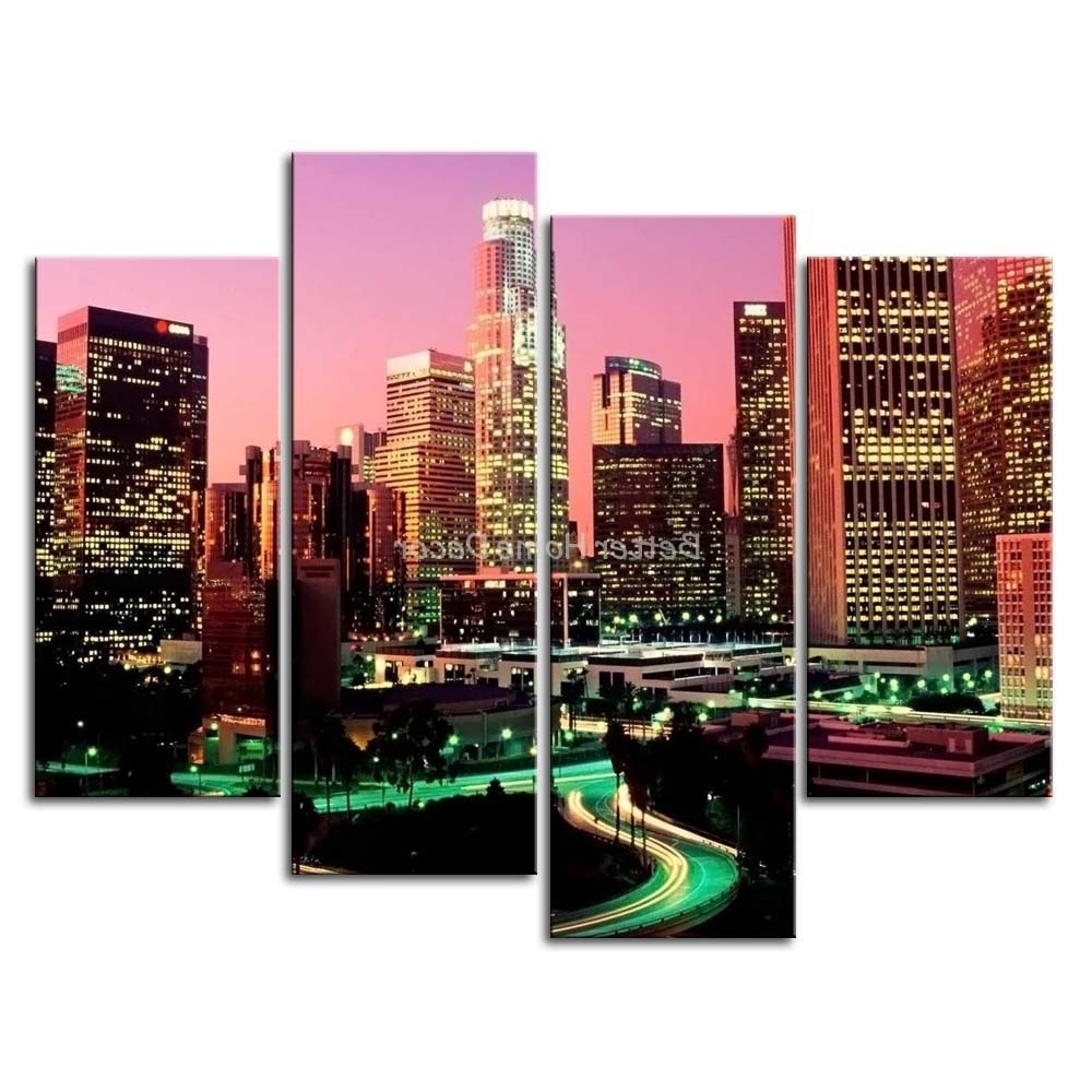 3 Piece Wall Art Painting Los Angeles With Nice Night Scene Print Pertaining To Newest Los Angeles Wall Art (View 12 of 15)