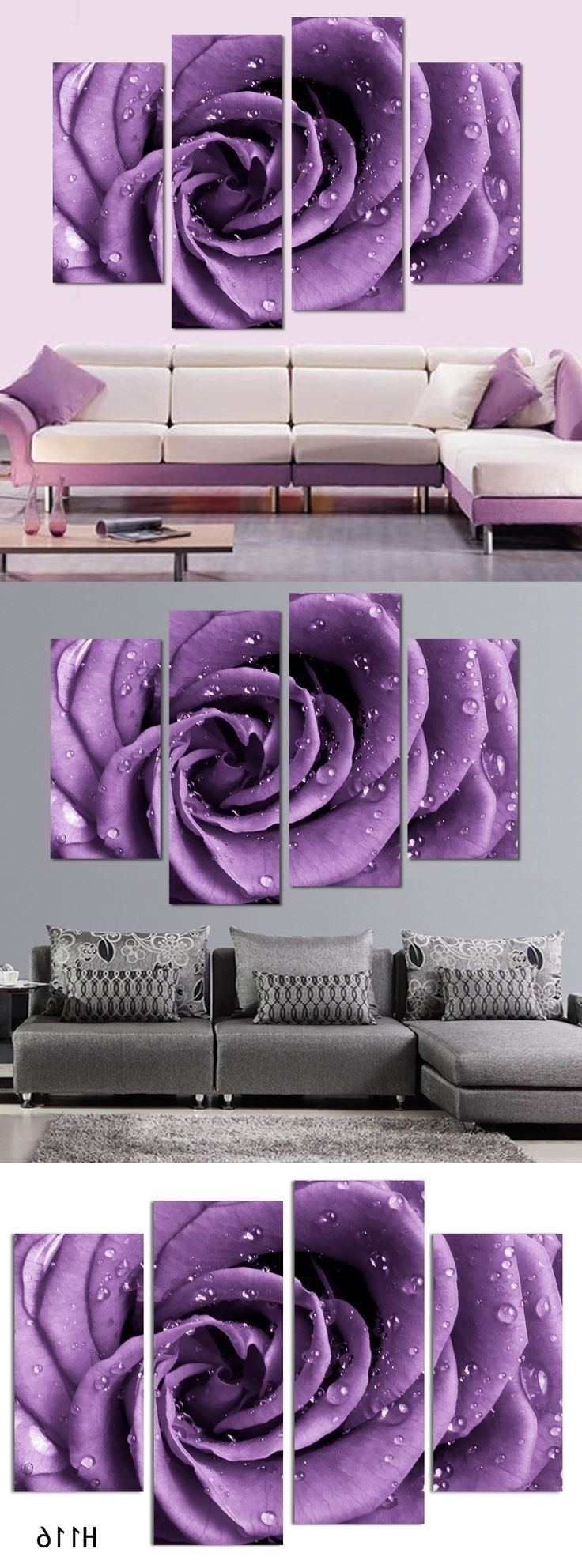 3 Piece Wall Art White Purple Lover Flower Big Perfect Canvas Wall With Regard To Most Current Purple Canvas Wall Art (View 11 of 15)