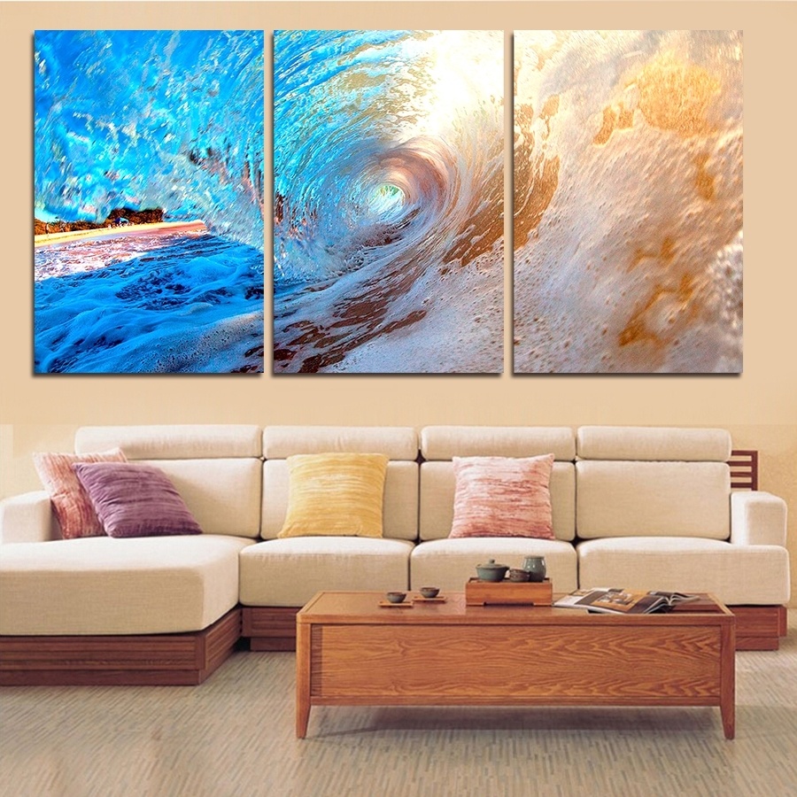 3 Plane Abstract Sea Wave Modern Home Decor Wall Art Canvas Blue Pertaining  To Newest Affordable