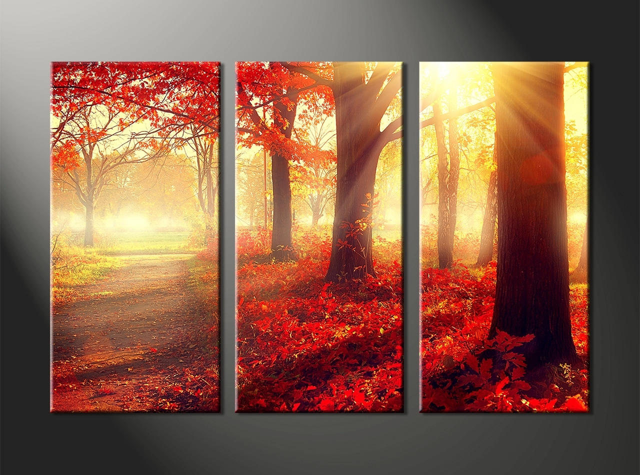 3 Set Canvas Wall Art For Most Current Sweet Ideas 3 Piece Wall Art Set Canvas Panels Flowers Trees (Gallery 4 of 15)
