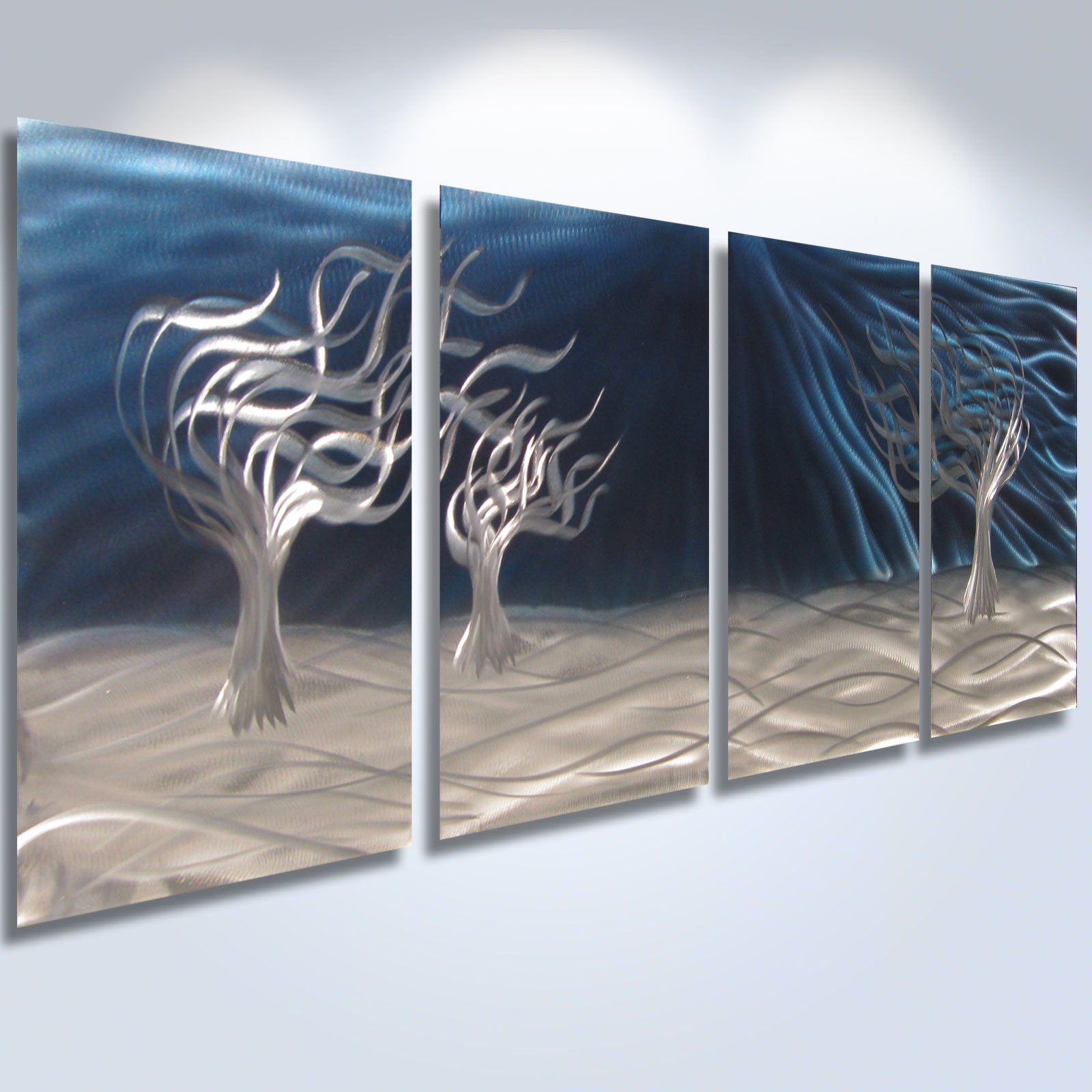3 Trees Blue – Abstract Metal Wall Art Contemporary Modern Decor Regarding Well Known Abstract Metal Wall Art (View 3 of 15)