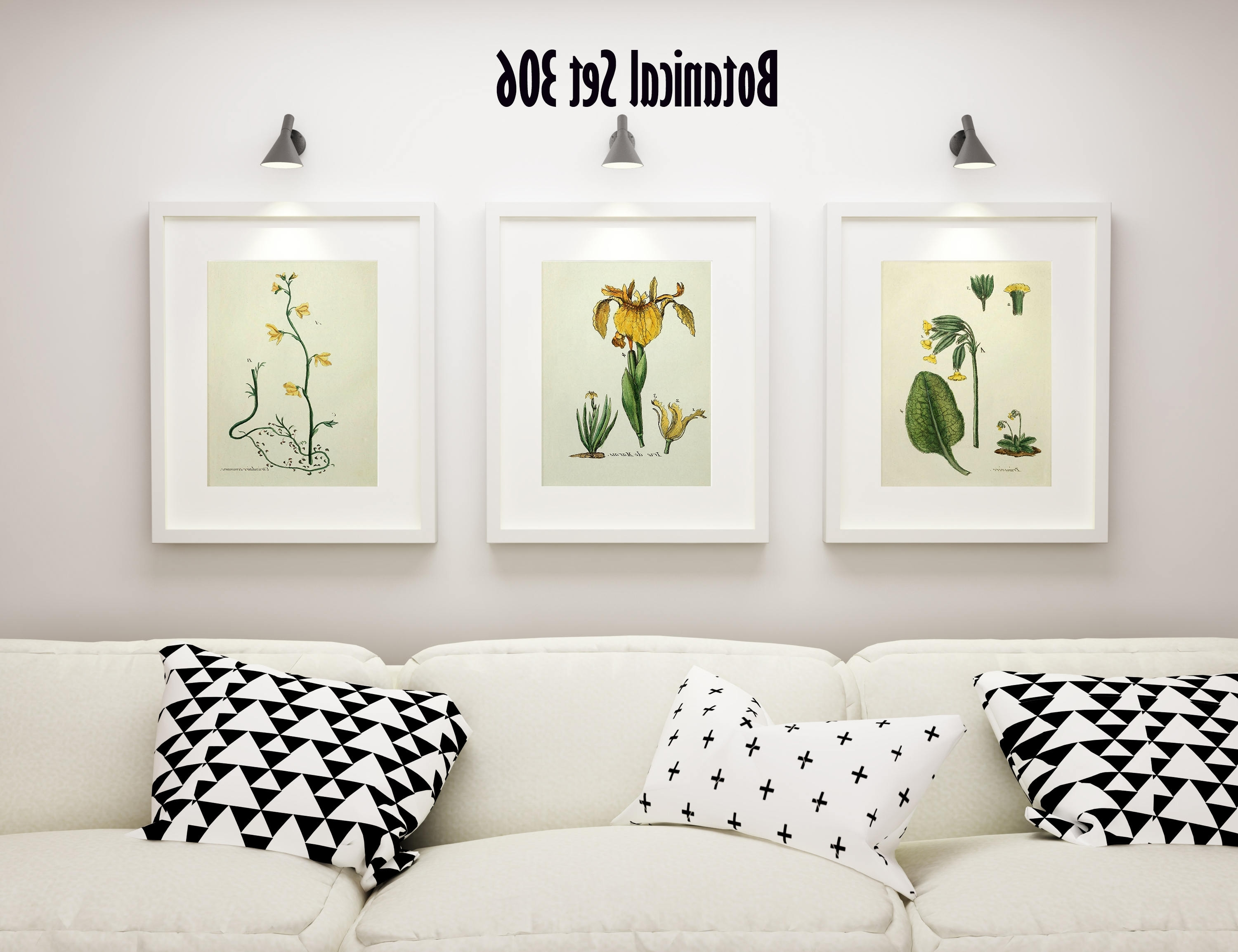 3 Vintage Floral Prints – Matted And Framed – Yellow Floral Prints Inside Popular French Country Wall Art Prints (View 1 of 15)