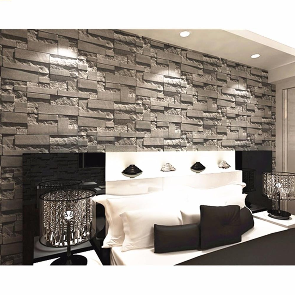 3D Brick Wall Art Throughout Trendy 3D Wallpaper Bedroom Mural Modern Stone Brick Wall Paper (View 8 of 15)