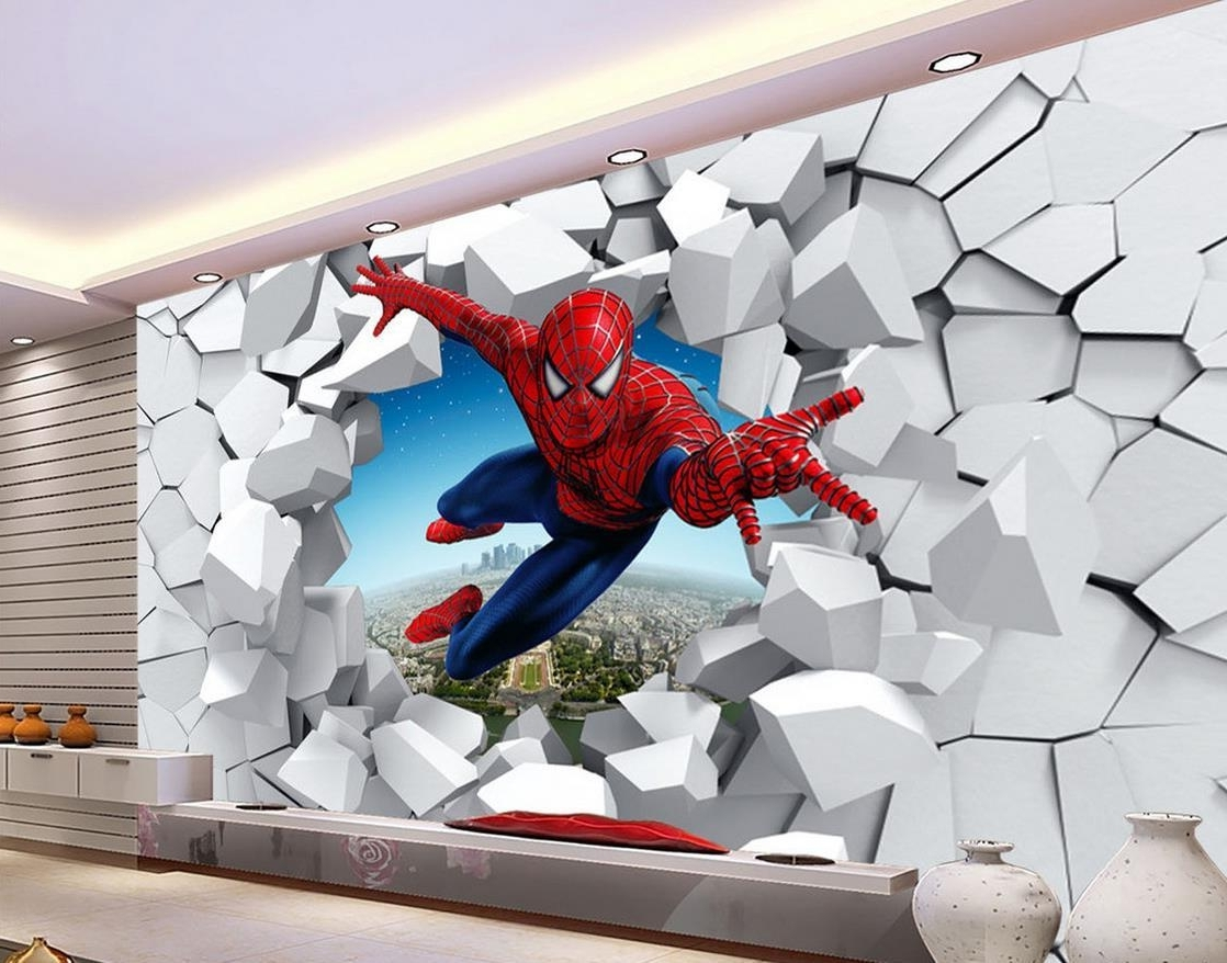 3D Brick Wall Cartoon Decoration Painting Background Wall Mural 3D In Preferred 3D Brick Wall Art (View 10 of 15)