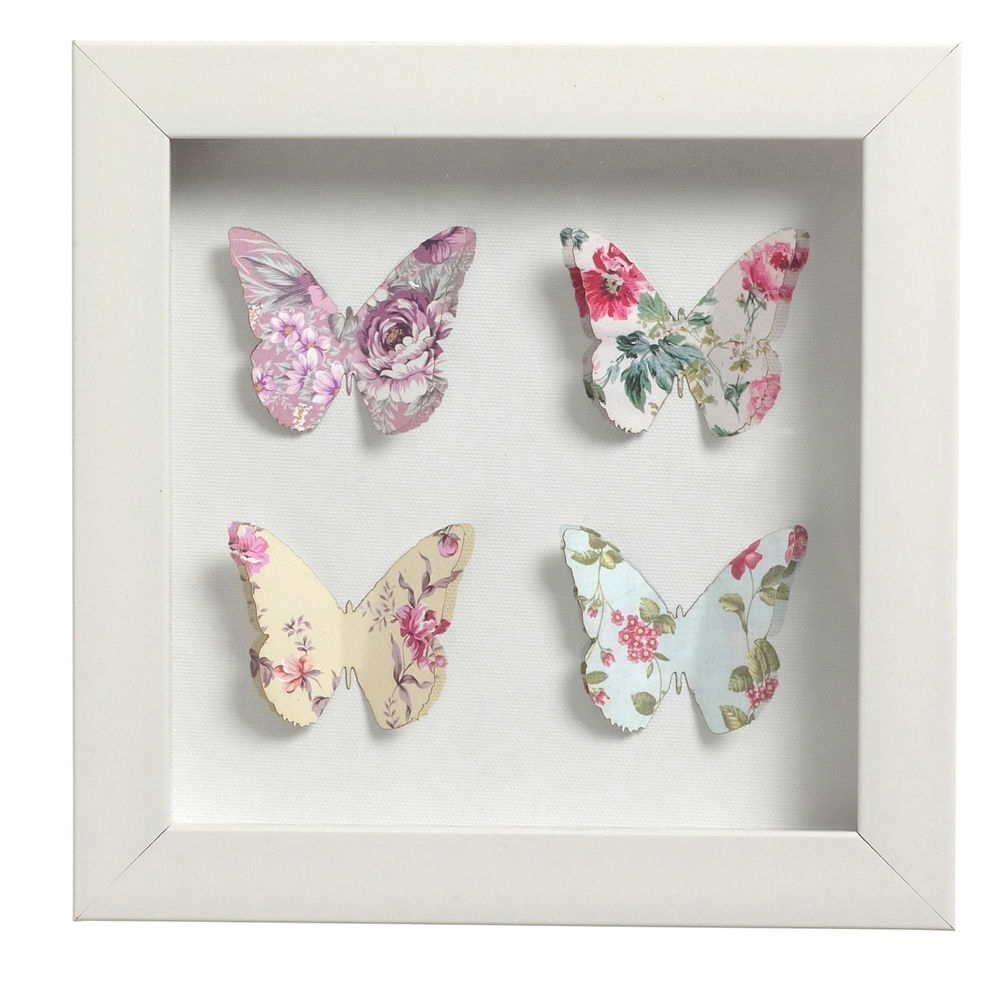 3D Butterfly Framed Wall Art In Most Current ♢ Shabby Chic ♢ 3D Butterfly Picture ♢ Box Frame ♢ Wall Art (View 2 of 15)
