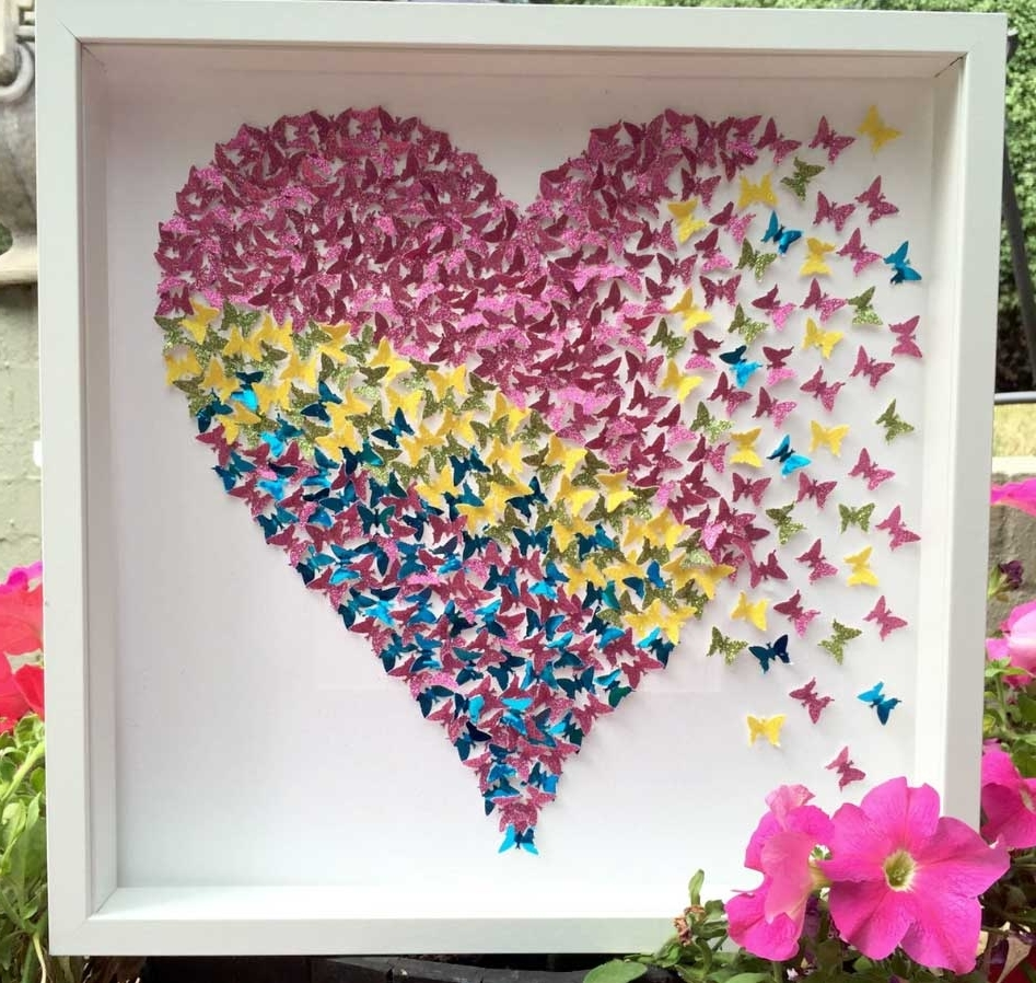 3D Butterfly Framed Wall Art Intended For Widely Used 3D Butterfly Framed Wall Art Sparkly Light Pink (View 4 of 15)