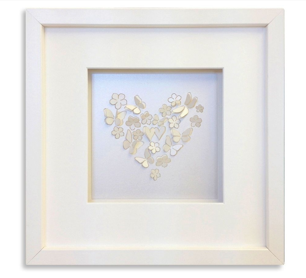 "3D Butterfly Framed Wall Art With Regard To Well Liked 10X10""/ 25X25Cm White Pearl Laser Cut 3D Butterfly Picture Framed (View 6 of 15)"