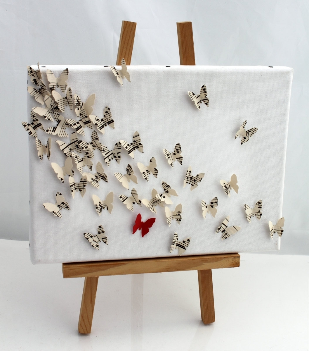 3D Butterfly Wall Art Collage On Canvas  Upcycled Vintage Sheet Regarding Popular Gold Coast 3D Wall Art (View 1 of 15)