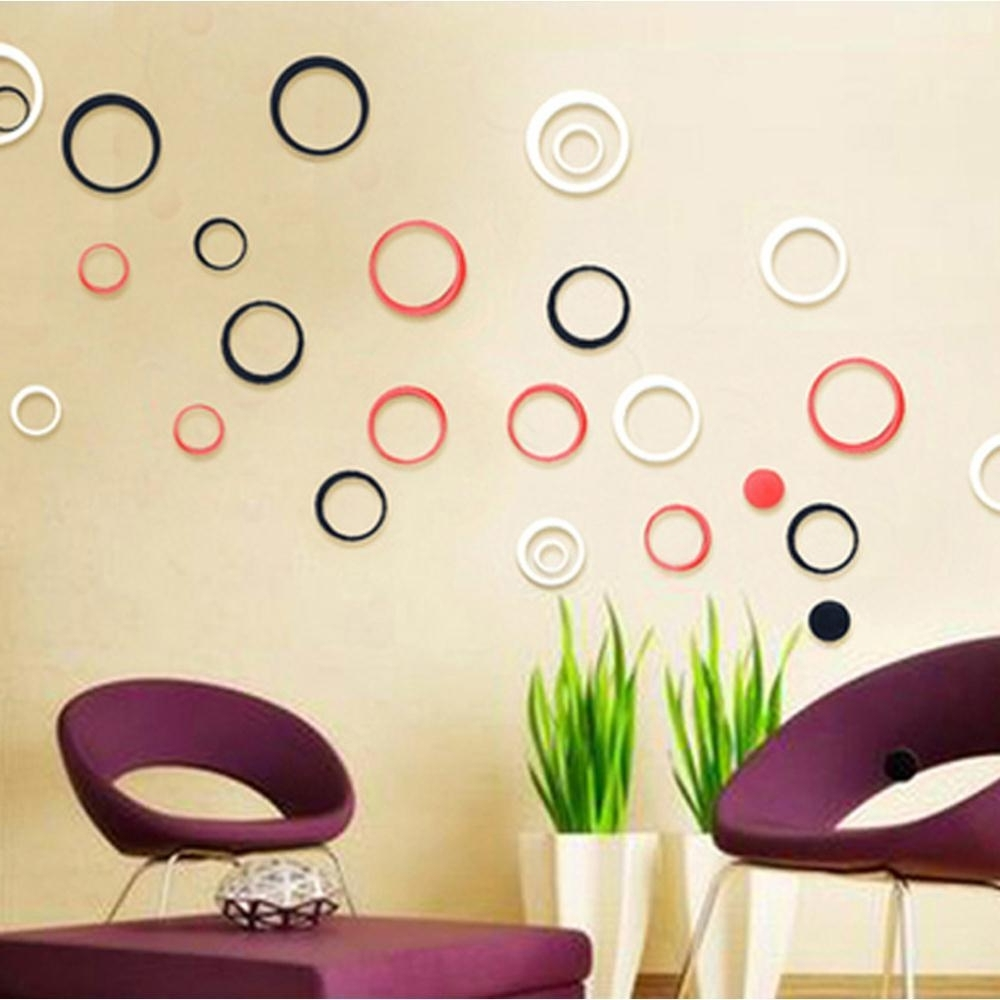 3D Circle Wall Art Within Latest New Fashional Hot Sale 3D Circles Ring Wall Stickers Indoor Room (View 7 of 15)