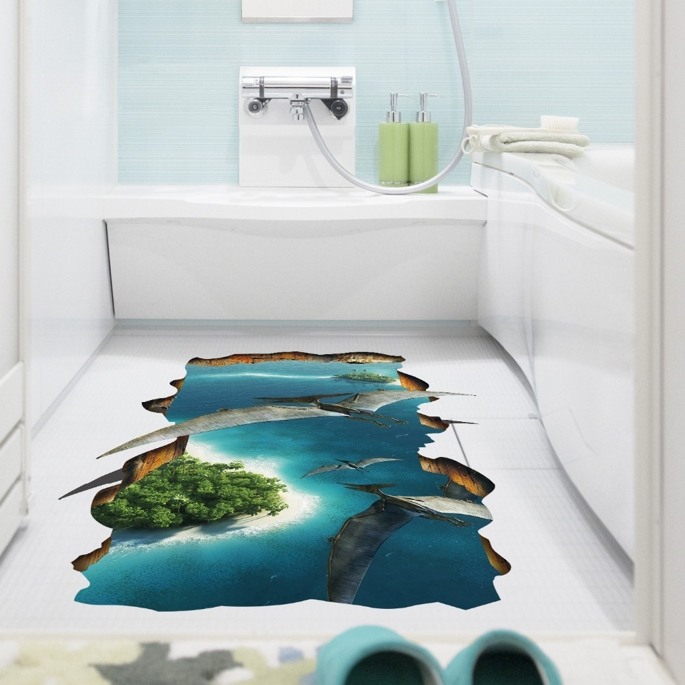 3D Creative Pterosaur Wall Sticker Kids Room Bathroom Floor Wall Inside Recent 3D Wall Art For Bathroom (View 1 of 15)