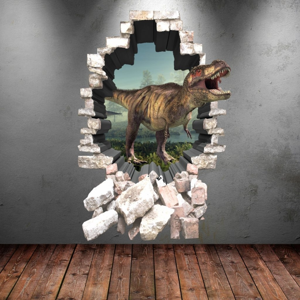3D Dinosaur Wall Art Decor Intended For Current Amazing Idea 3D Dinosaur Wall Art Decor Decal Stickers Full Colour (View 4 of 15)