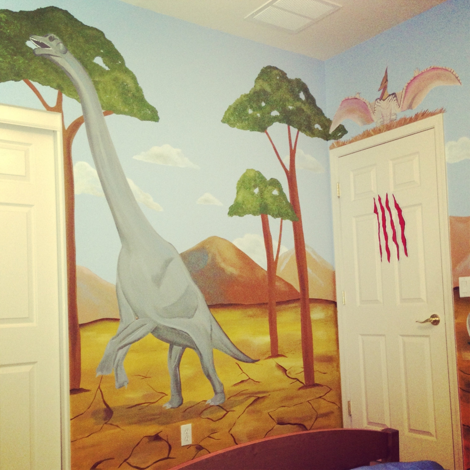 3D Dinosaur Wall Decals Bedroom Stickers Beetling Design Boys For Well  Known Beetling Brachiosaurus Dinosaur 3D