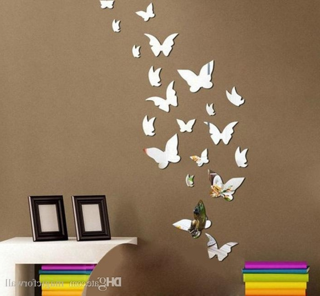 3D Effect Wall Art In Fashionable Home Decor Wall Art Stickers Set 3D Butterfly Mirror Effect Wall (Gallery 12 of 15)