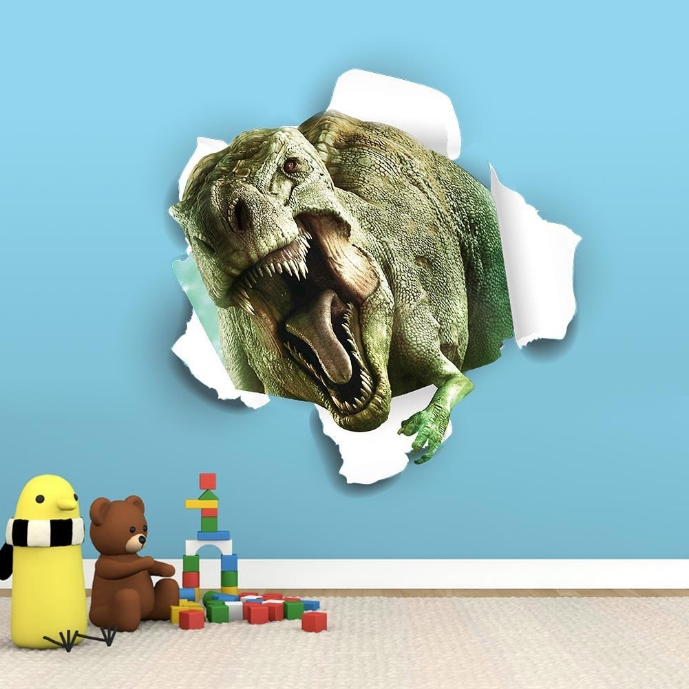 3D Fantastic Dinosaur Wall Stickers For Kids Rooms Removable Regarding Best And Newest Dinosaurs 3D Wall Art (Gallery 7 of 15)
