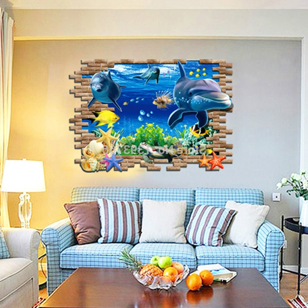 3D Fish Seabed Wall Sticker Nursery Kids Room Wall Decals Baby Inside Preferred 3D Wall Art For Baby Nursery (View 4 of 15)
