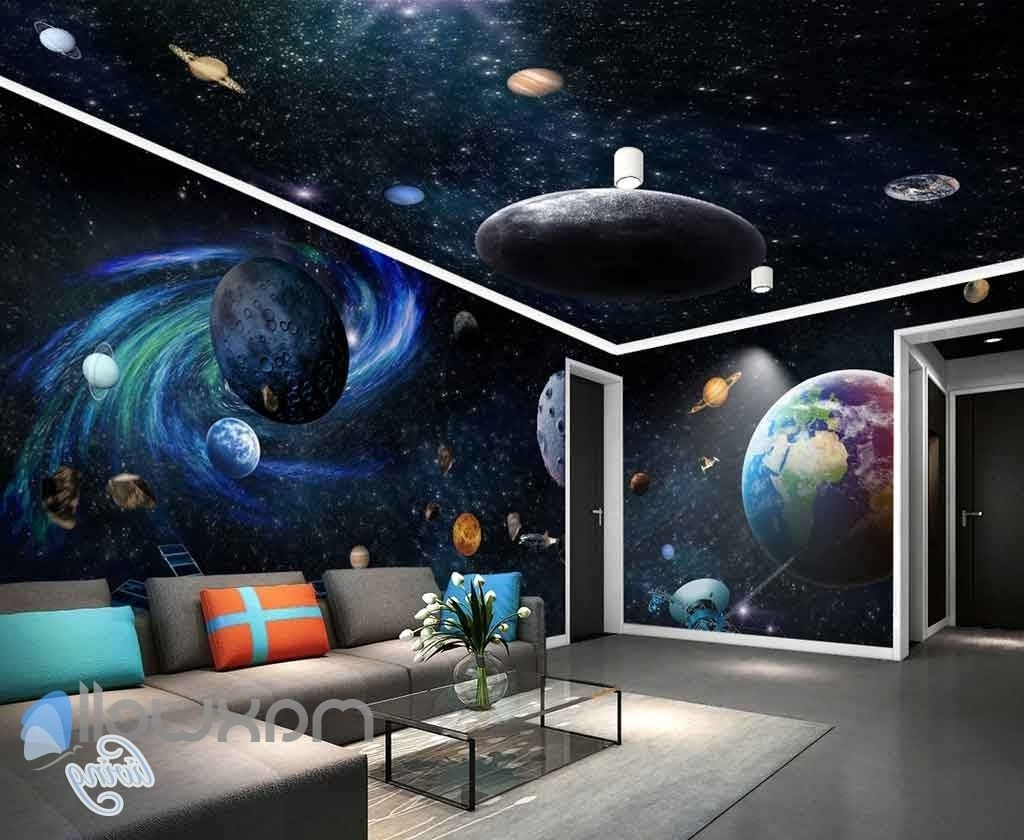 3D Galaxy Solar System Entire Room Wallpaper Wall Murals Art Pertaining To Famous Solar System Wall Art (View 1 of 15)