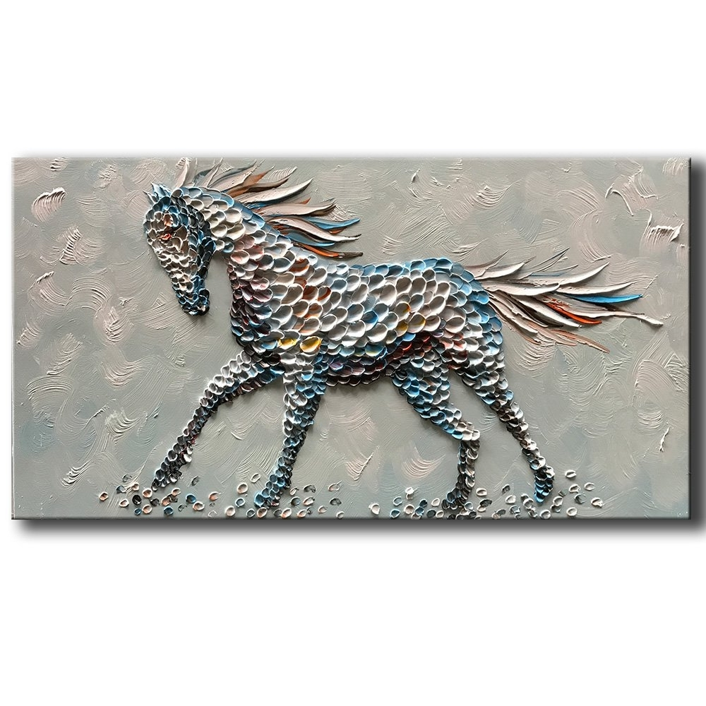 3D Horse Wall Art Inside Most Current Yasheng Art Animal Oil Painting On Canvas Texture 3D Horse (Gallery 8 of 15)