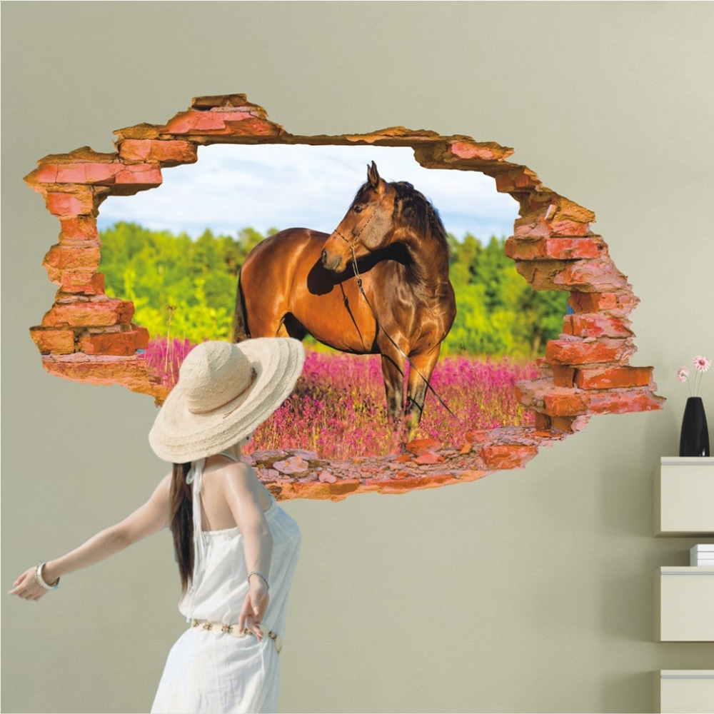 3D Horse Wall Art Regarding Best And Newest 3D Horse Wall Sticker 60*90Cm Animal Print Wall Poster Art Decals (Gallery 2 of 15)