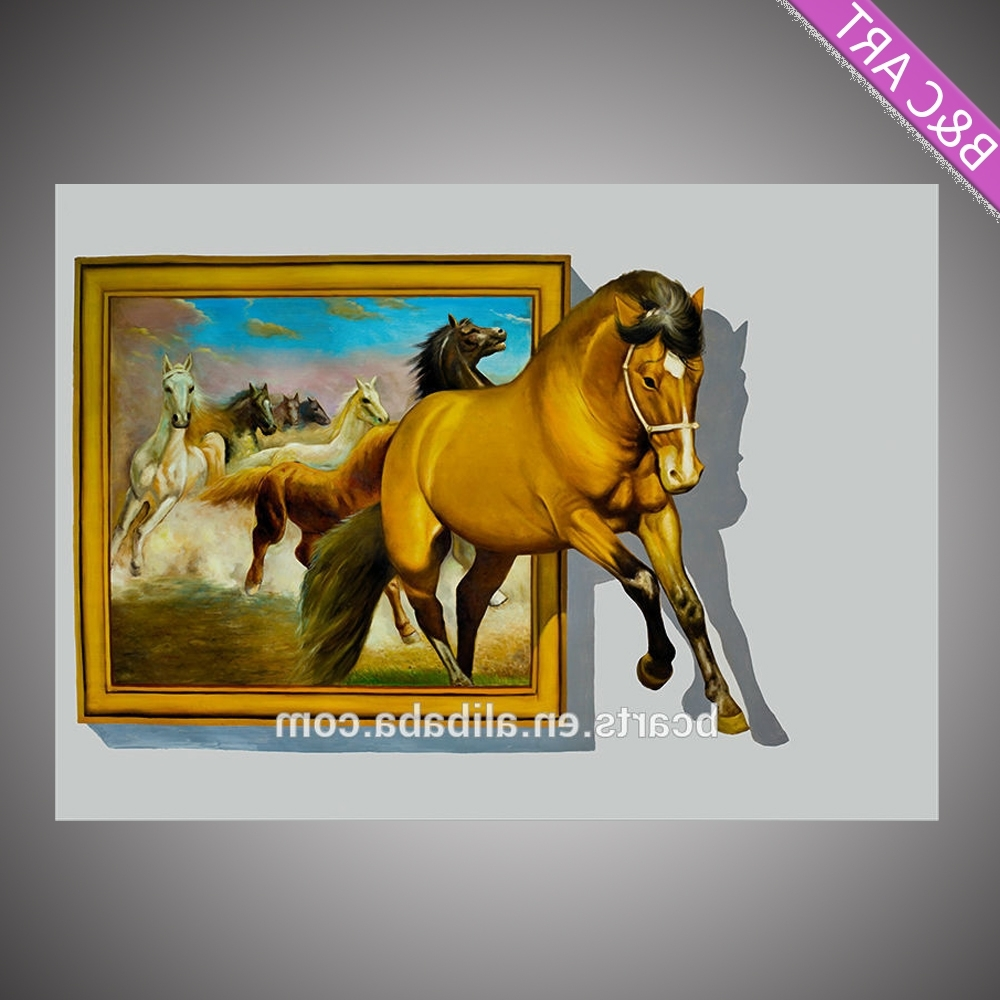 3D Horse Wall Art With Most Recent 3D Art Canvas Painting Funny Image 3D Horse Painting, View 3D (View 7 of 15)