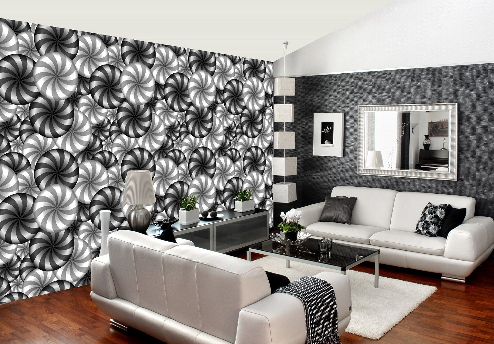 3D Illusion Optical B&w Abstract Art Decor Wall Mural Photo Pertaining To Recent Abstract Art Wall Murals (View 1 of 15)