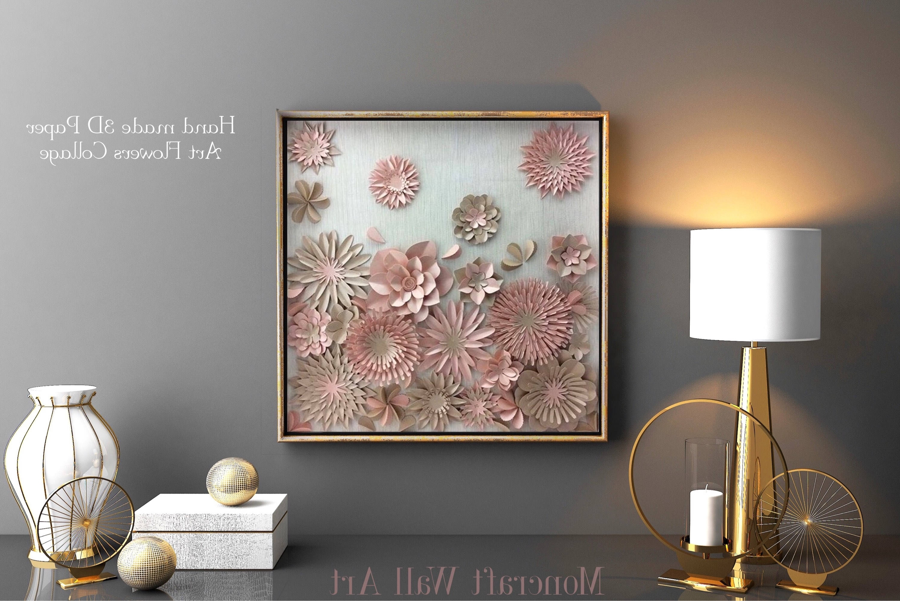 3d Modern Wall Art With Recent Paper Flower , Modern Wall Art Decor , Living Room Wall Art , Home (View 2 of 15)