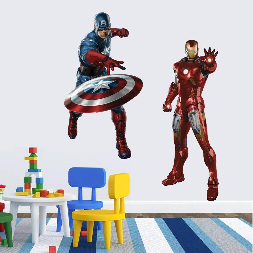 3D Wall Art Captain America Night Light For Most Recent Iron Man Captain America Wall Stickers 4 Styles Super Hero The (View 1 of 15)