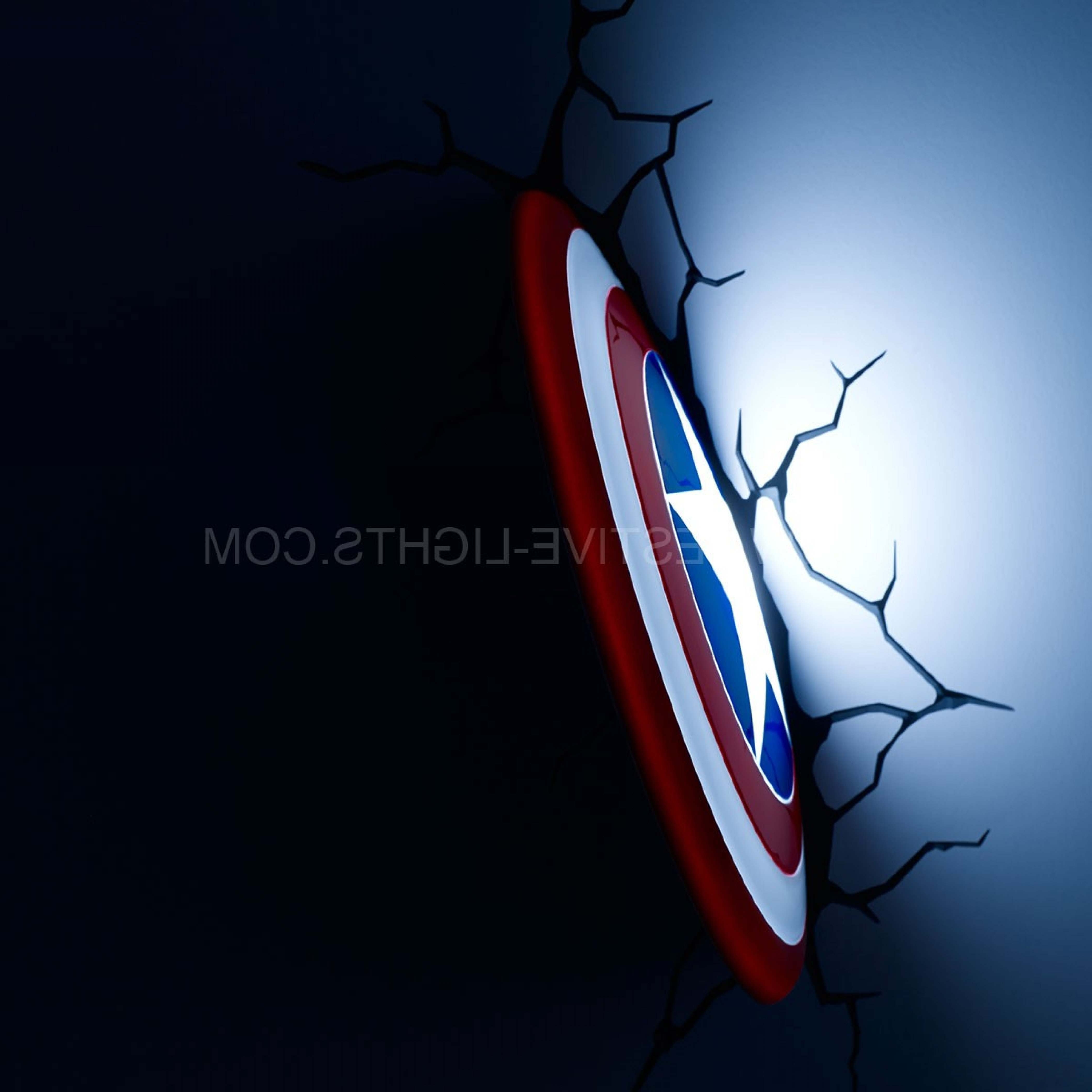 3D Wall Art Captain America Night Light For Recent America Shield 3D Led Battery Wall Art Night Light (View 3 of 15)